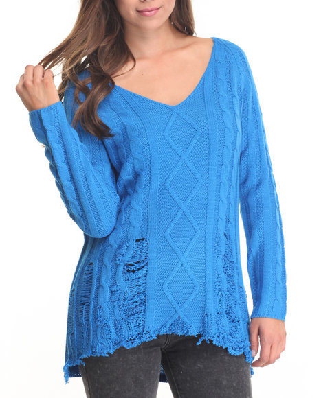 Fashion Lab - Women Blue Distressed Pullover - $6.99
