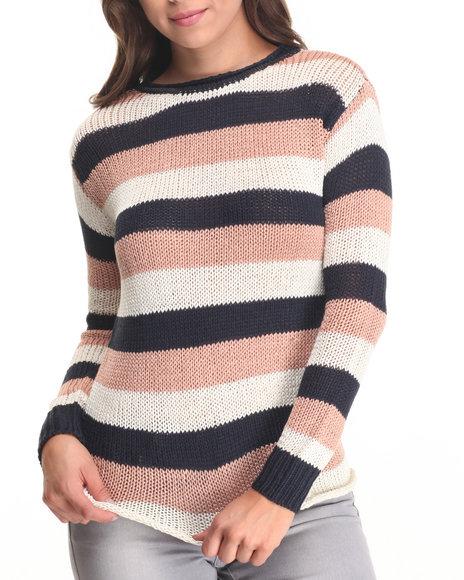 Fashion Lab - Women Beige,Navy,Tan Striped Sweater