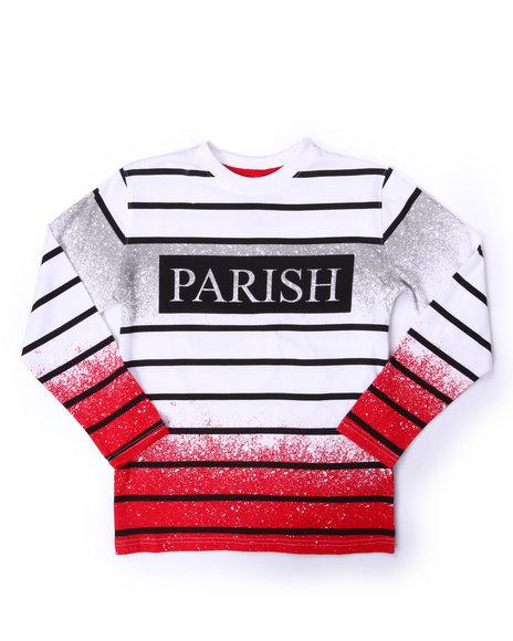 Parish - Boys White Spray Nation Stripe L/S Tee (8-20)