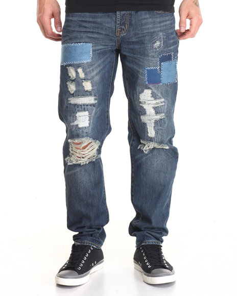 American Natives - Men Medium Wash Phantom Patchwork Rip - And - Tear Denim Jeans