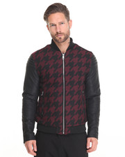 Jackets & Coats - Wine Houndstooth Bomber