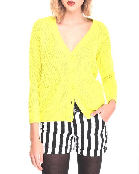 Fashion Lab - Women Lime Green,Yellow Cardigan - $3.99