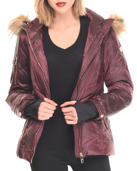 Basic Essentials - Women Purple Merlot Down Hooded Puffer Coat W/Faux Fur Trim Hood