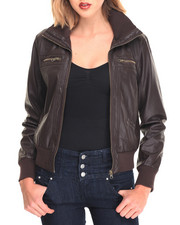 Fashion Lab - Bella Vegan Leather Flight Jacket