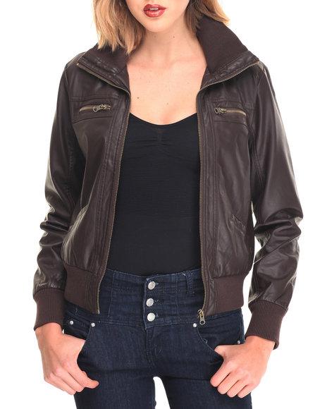 Fashion Lab Women Bella Vegan Leather Flight Jacket Brown Medium