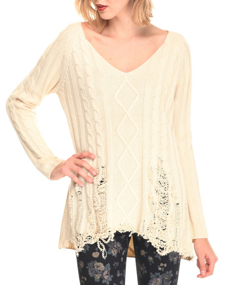 Fashion Lab - Women White Distressed Pullover