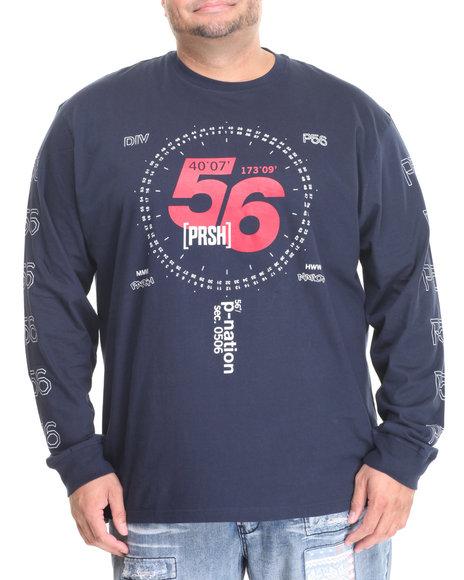 Parish - Men Navy Graphic L/S T-Shirt (B&T)