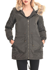 "Women - Nylon 33"" Anorack w/ Fur Trim Hood"