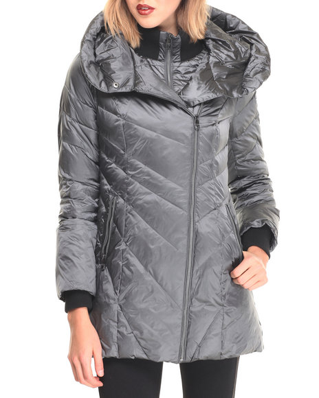 Steve Madden - Women Silver Black Hooded Down Puffer Coat