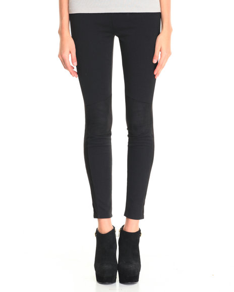 Freestyle - Women Black Tacy Patch Faux Suede Legging