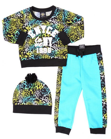 Enyce - Girls Multi 2 Pc Animal Print Jogger Set W/ Pom Pom Beanie (2T-4T) - $30.99