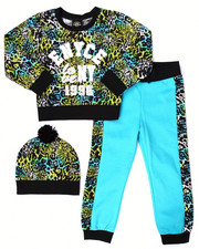 Sizes 4-6x - Kids - 2 PC ANIMAL PRINT JOGGER SET W/ POM POM BEANIE (4-6X)