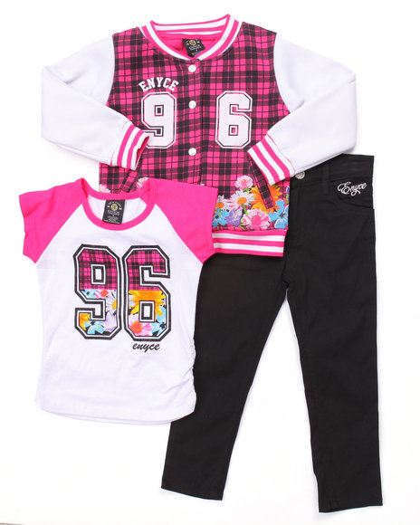 Enyce - Girls Multi 3 Pc Floral Varsity Jacket Set (4-6X)