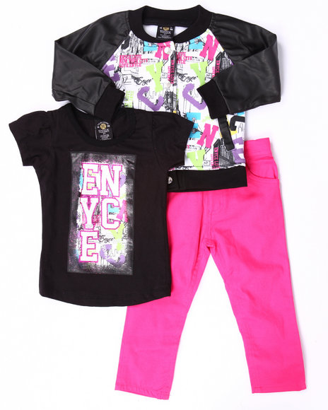Enyce - Girls Multi 3 Pc Graffiti Varsity Jacket Set (2T-4T)