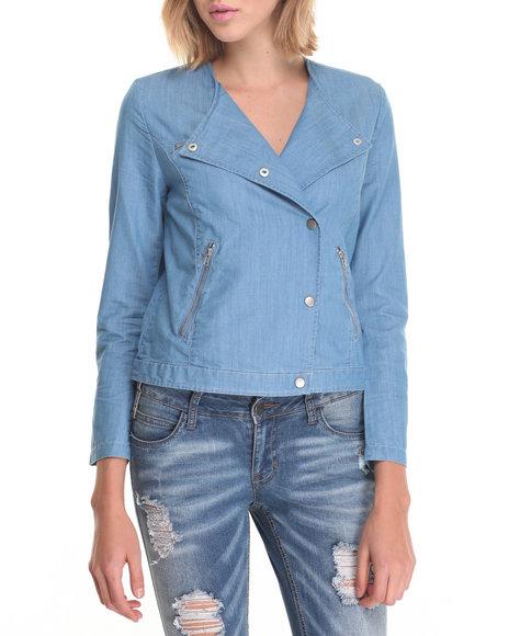 Fashion Lab - Women Blue Lightweight Chambray Jacket