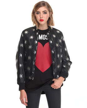 Women - STAR PRINT BOMBER JACKET