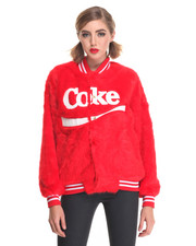 Leather & Fur - Coke Candy Faux Fur Varsity Jacket