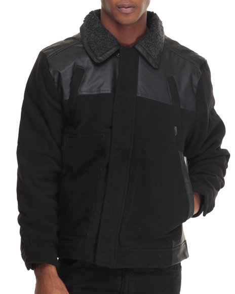 Buyers Picks - Men Black Quest Sherpa - Collared Faux Leather - Trimmed Wool Jacket