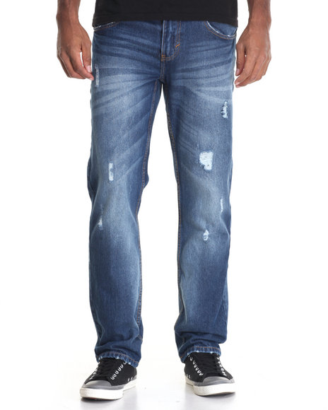 Akademiks - Men Medium Wash Walker Denim Jean
