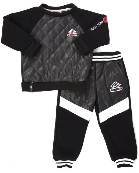 Enyce - Boys Black Quilted Faux Leather Jogger Set (4-7)
