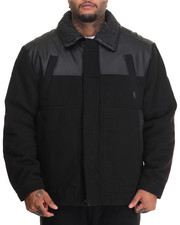 Outerwear - Quest Sherpa - Collared Faux Leather - Trimmed Wool Jacket (B&T)