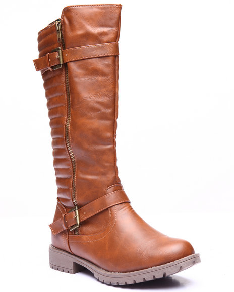 Basic Essentials - Women Tan Royal Zip Up Buckle Boot