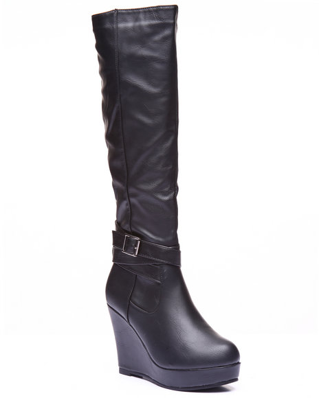 Basic Essentials - Women Black Rocket High Wedge Boot