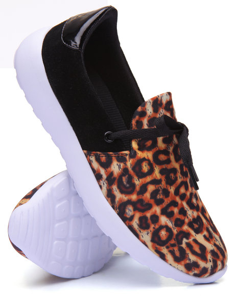 Y.R.U. - Women Animal Print Beam Slip On Sneaker W/Laces