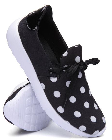 Y.R.U. - Women Black Beam Slip On Sneaker W/ Laces