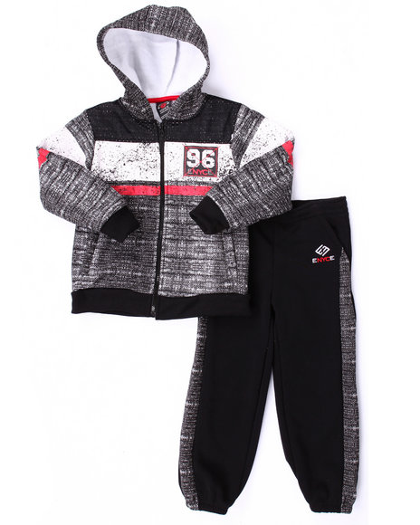 Enyce - Boys Black Knit Print Hoody & Jogger Set (8-20)