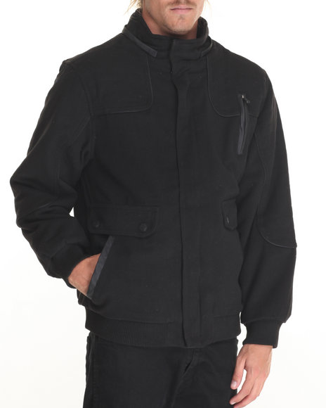 Buyers Picks - Men Black Mattrod Faux Leather - Trimmed Wool Toggle Jacket