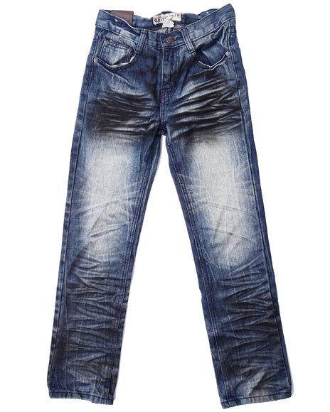 Arcade Styles - Boys Medium Wash Extreme Crinkle Wash Jeans (8-20)