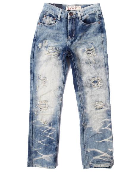 Arcade Styles - Boys Medium Wash Distressed Tie Dye Wash Jeans (8-20)