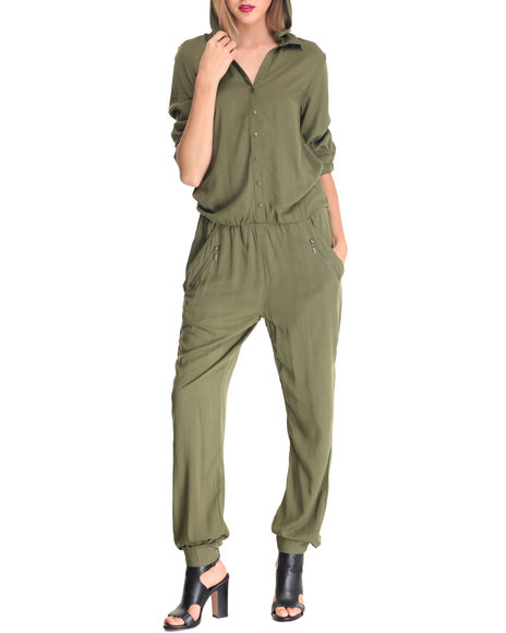 La Belle Roc - Women Green Cargo Romper W/Removable Hood