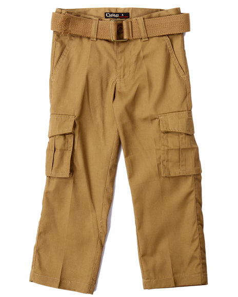 Arcade Styles - Boys Tan Belted Cargo Pants (4-7)