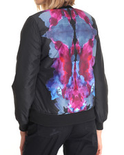Light Jackets - Nicole Nylon Bomber Jack w/print