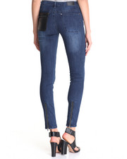 Jeans - Donna Super Skinny Jean w/vegan leather detail