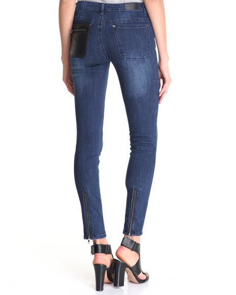 La Belle Roc - Women Blue Donna Super Skinny Jean W/Vegan Leather Detail