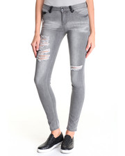 Women - Super Skinny Jean w/Distressed Detail