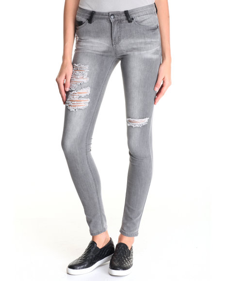 La Belle Roc - Women Grey Super Skinny Jean W/Distressed Detail