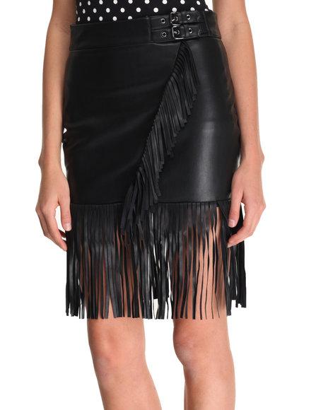 La Belle Roc - Women Black Fringe Benefits Vegan Leather Skirt