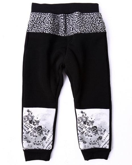 Akademiks - Boys Black Cut & Sew Elephant Print Joggers (4-7)