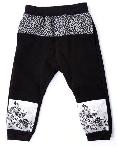 Akademiks - Boys Black Cut & Sew Elephant Print Joggers (2T-4T)
