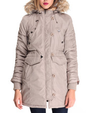Steve Madden - HEAVY WEIGHT SNORKEL COAT W/ RUCHED SLEEVE DETAIL-FAUX FUR HOOD TRIM