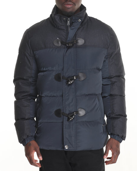 Buyers Picks Men Marqt Mixed Fabric Toggle Coat W Detachable Hood Navy Small