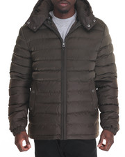 Men - Marqt Mixed Fabric Hooded Puffer Jacket