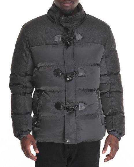 Buyers Picks - Men Grey Marqt Mixed Fabric Toggle Coat W/ Detachable Hood