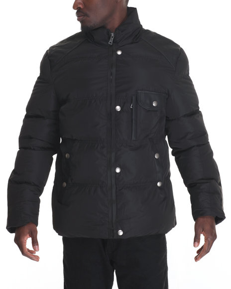 Buyers Picks - Men Black Marqt Faux - Leather - Trimmed Nylon Coat W/ Detachable Hood