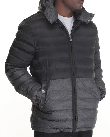 Buyers Picks - Men Black Marqt Mixed Fabric Hooded Puffer Jacket