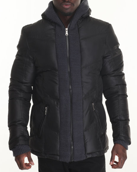Buyers Picks - Men Black Marqt Wrap - Collar Structured Quilted Coat